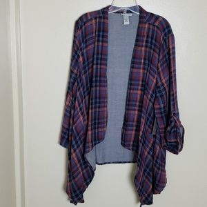Catherines plaid open front shirt